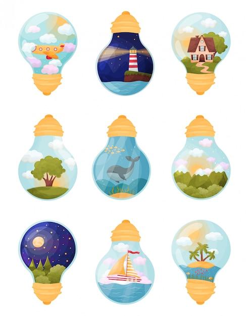 Satz von bildern in der glühbirne. illustration Premium Vektoren