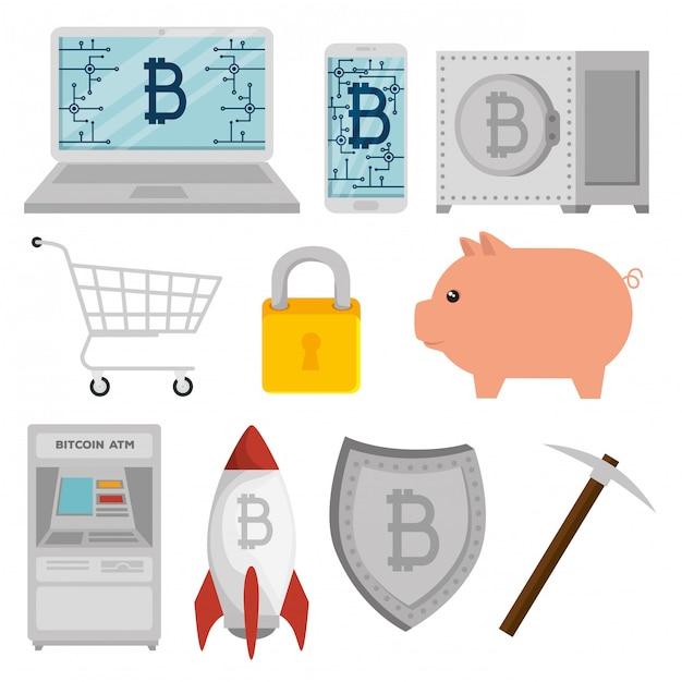 Satz von bitcoin währung mit schwein und schild Kostenlosen Vektoren