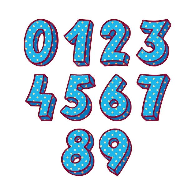 Satz von blauen vektornummern. handgezeichnete illustration Premium Vektoren