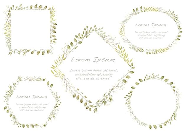 Satz von botanischen aquarellrahmen lokalisiert auf einem weißen hintergrund. Kostenlosen Vektoren