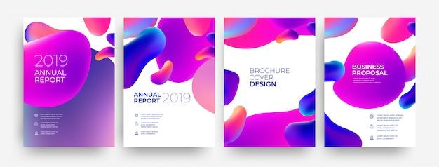 Satz von broschüre cover, jahresbericht Premium Vektoren
