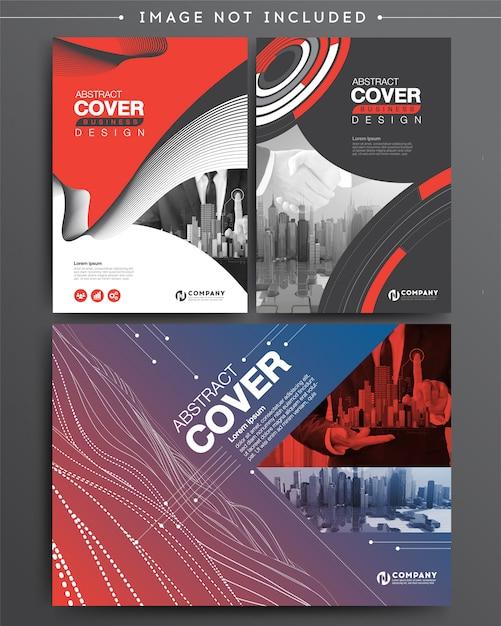 Satz von business cover broschüre vorlage digital infographik Premium Vektoren