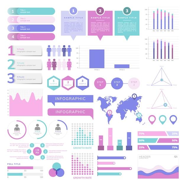 Satz von business infograph vektoren Kostenlosen Vektoren