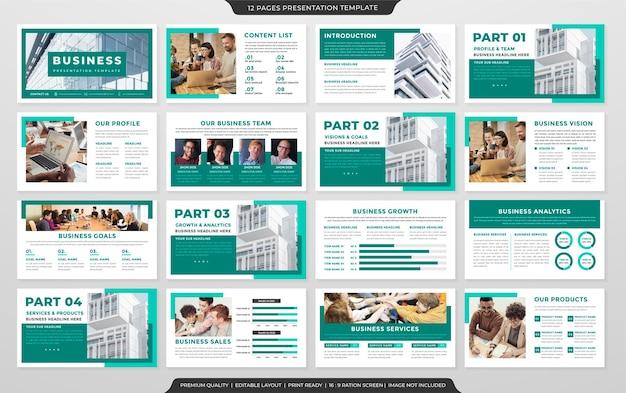 Satz von business-präsentations-layout-vorlagen-design mit klarem stil und minimalistischem konzept Premium Vektoren