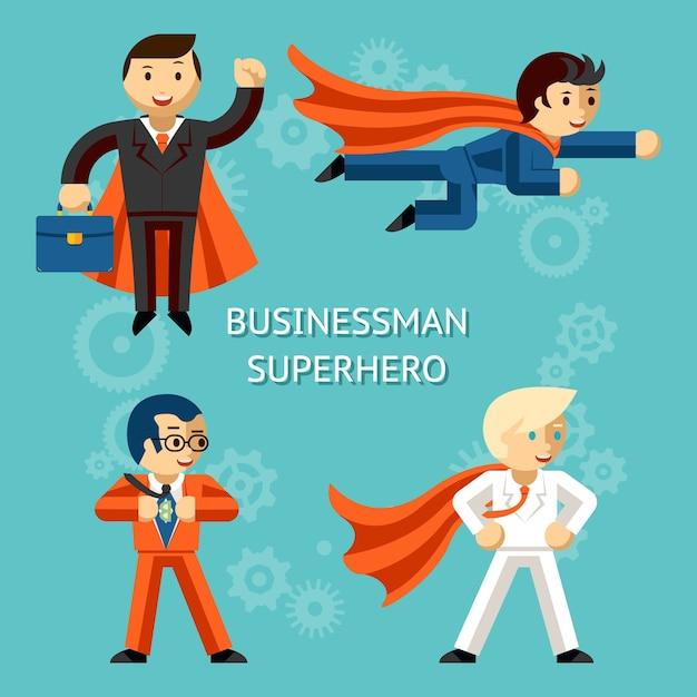 Satz von business-superhelden-charakteren. super geschäftsmann, person cartoon. Kostenlosen Vektoren