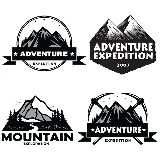 Satz von camping logos Premium Vektoren