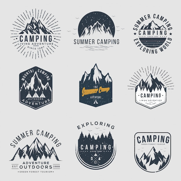 Satz von camping- und outdoor-vintage-logos Premium Vektoren