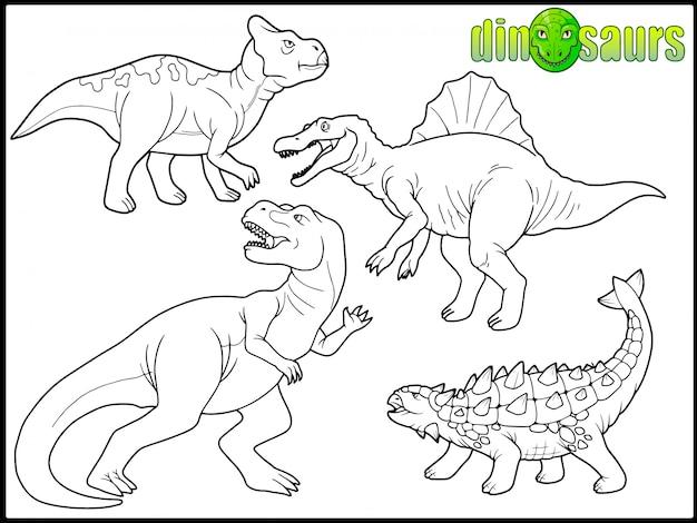 Satz von cartoon-dinosauriern Premium Vektoren