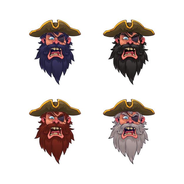 Satz von cartoon piratenkopf Premium Vektoren