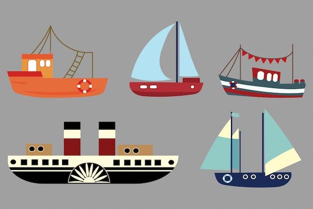 Satz von comic-schiffen. eine sammlung alter dampfer. segelschiffe. spielzeug. Premium Vektoren