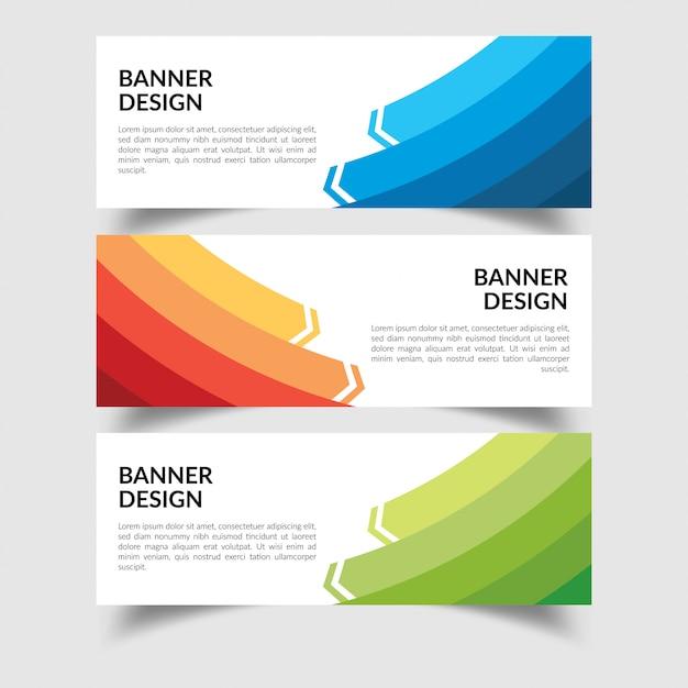 Satz von creative flat banner design template Premium Vektoren