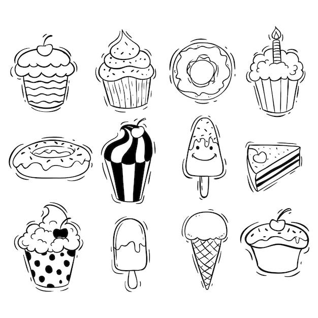 Satz von cupcake-eis und donut mit doodle-stil Premium Vektoren