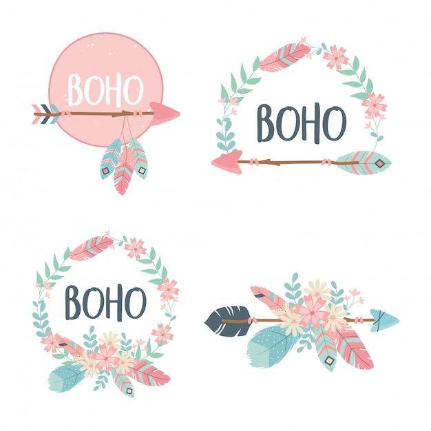 Satz von dekorationen boho-stil Premium Vektoren