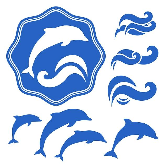 Satz von delfinsilhouetten. blaue wellen auf weiß Kostenlosen Vektoren