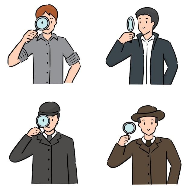 Satz von detektiv Premium Vektoren
