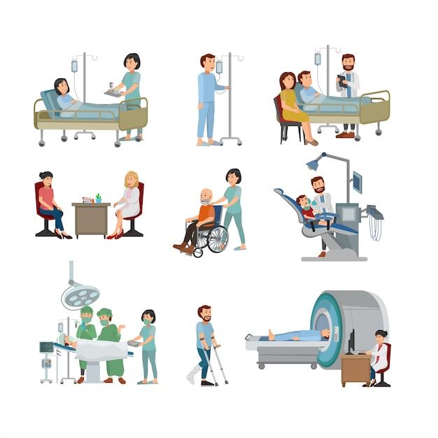 Satz von doktor and patient auf krankenhaus-illustration Premium Vektoren