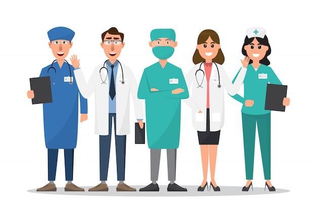 Satz von doktor- und krankenschwesterzeichentrickfilm-figuren Premium Vektoren