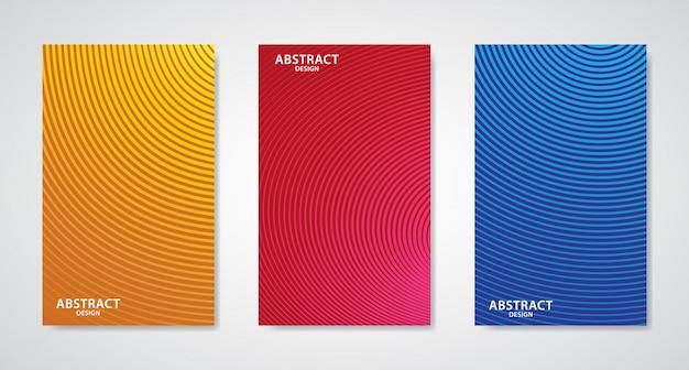 Satz von drei abstrakten linie design umfasst Premium Vektoren