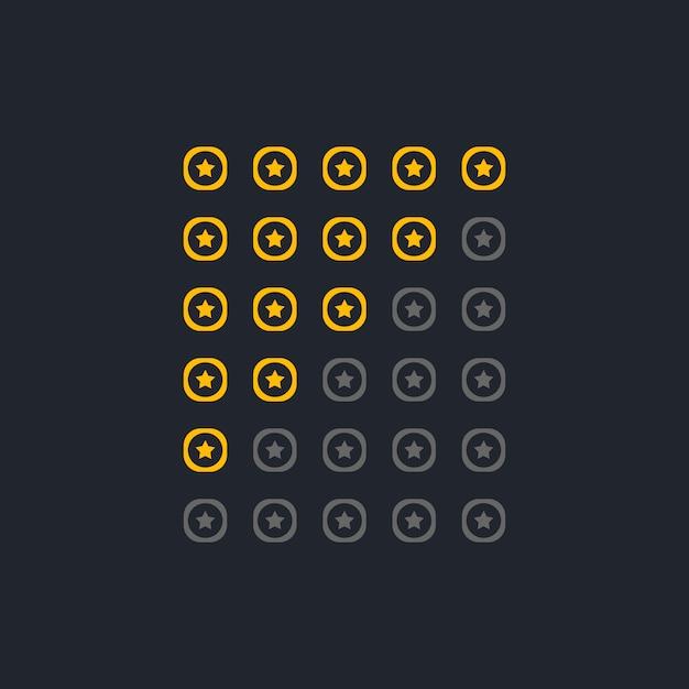 Satz von eleganten startbewertungssymbolen Kostenlosen Vektoren