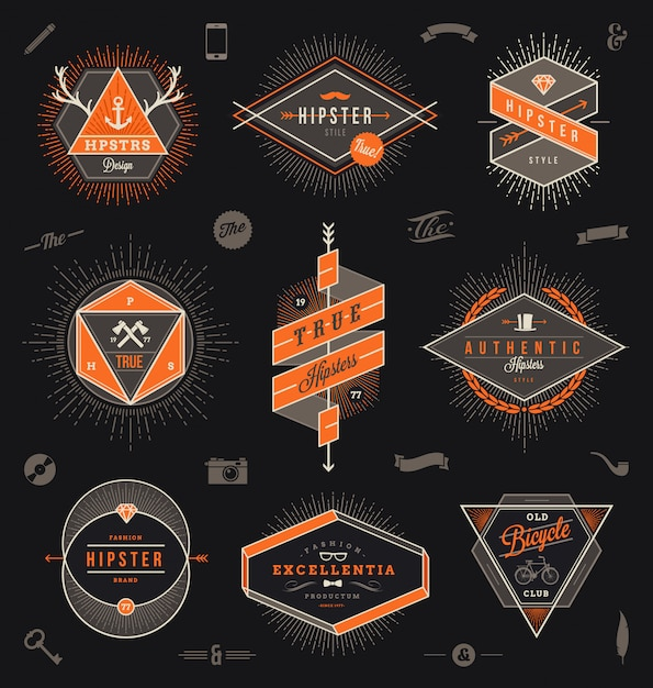 Satz von emblemen, etiketten und zeichenillustration im hipster-stil Premium Vektoren