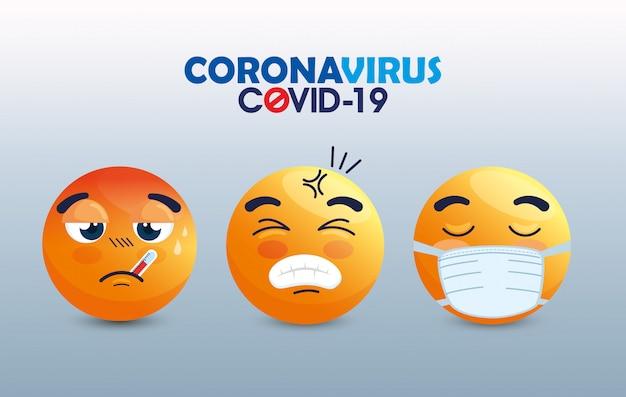 Satz von emoji, der medizinische maske trägt, gelbe gesichter mit weißen chirurgischen masken, symbole für coronavirus-ausbruch Premium Vektoren