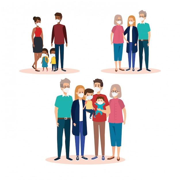 Satz von familien mit gesichtsmasken Premium Vektoren