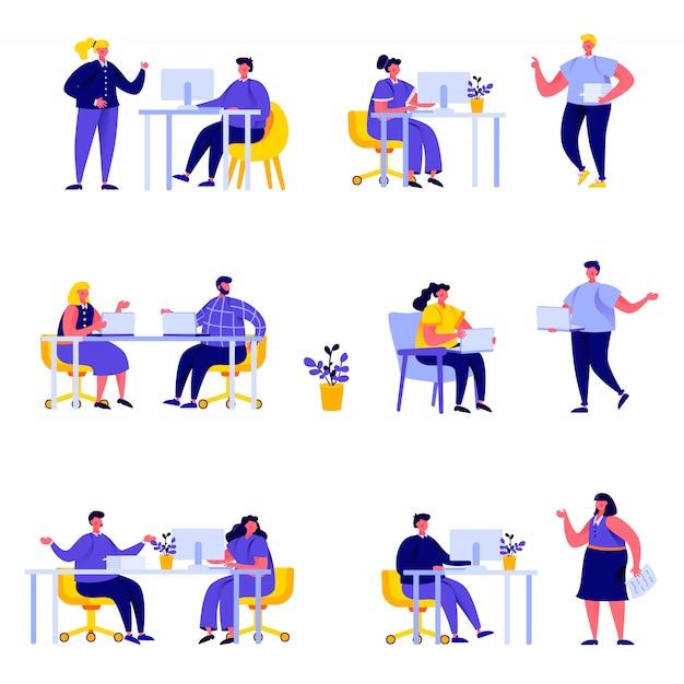 Satz von flachen menschen coworking space mit kreativen charakteren Premium Vektoren