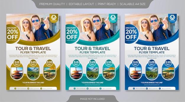 Satz von flyer vorlage für reiseveranstalter oder reisebüro Premium Vektoren