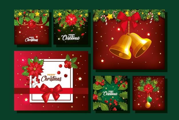 Satz von frohe weihnachten poster mit dekoration Kostenlosen Vektoren