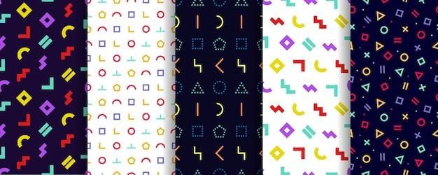Satz von fünf nahtlosen memphis-mustern. geschenkpapier . geometrische texturen. abstraktes cover. Premium Vektoren