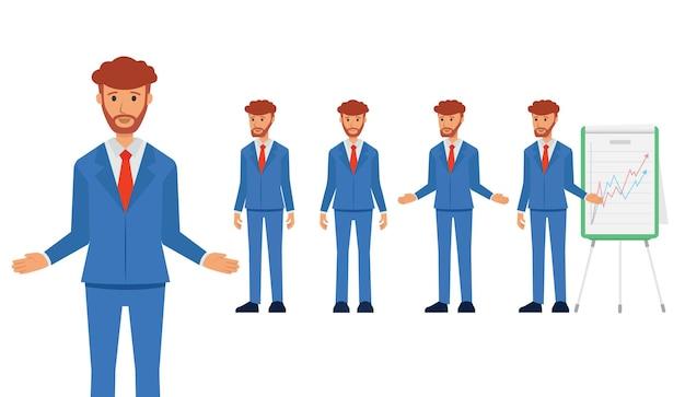 Satz von geschäftscharakter in voller länge in einem anzug, geschäftsmann erklären Premium Vektoren