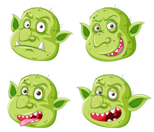 Satz von grünem kobold- oder trollgesicht in verschiedenen ausdrücken im karikaturstil lokalisiert Kostenlosen Vektoren