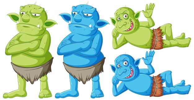 Satz von grünen und blauen kobolden oder trollen, die mit verschiedenen gesichtern in der zeichentrickfigur isoliert stehen und liegen Kostenlosen Vektoren