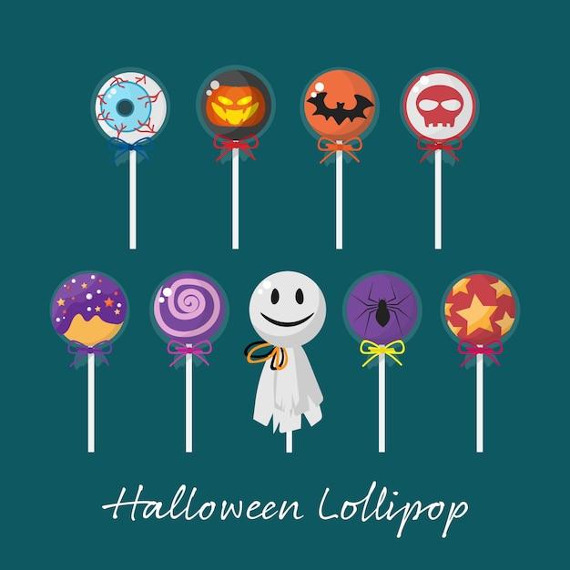 Satz von halloween lollipop. Premium Vektoren