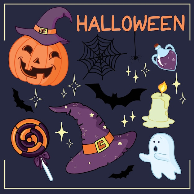 Satz von halloween verwandte objekte und kreaturen. satz halloween-ikonen für ihr design. flaches design. halloween-symbole. Premium Vektoren
