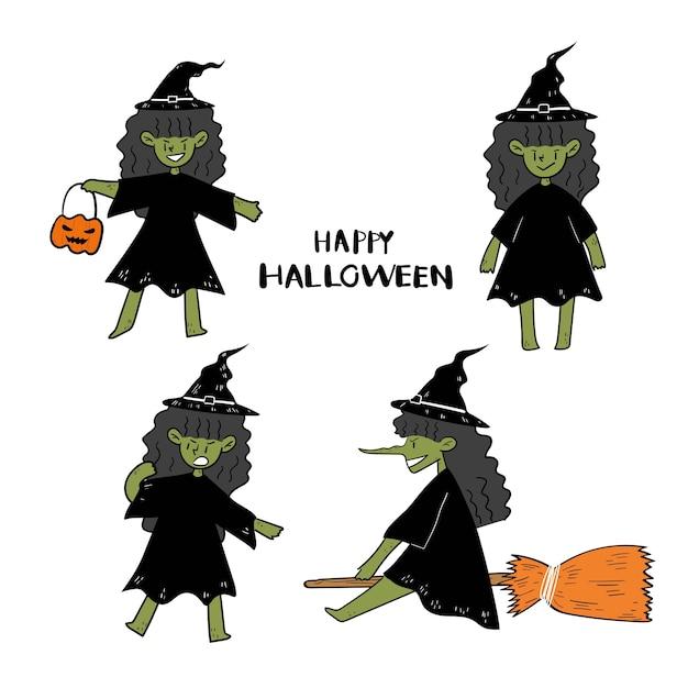 Satz von hand gezeichnet halloween hexe doodle. Premium Vektoren
