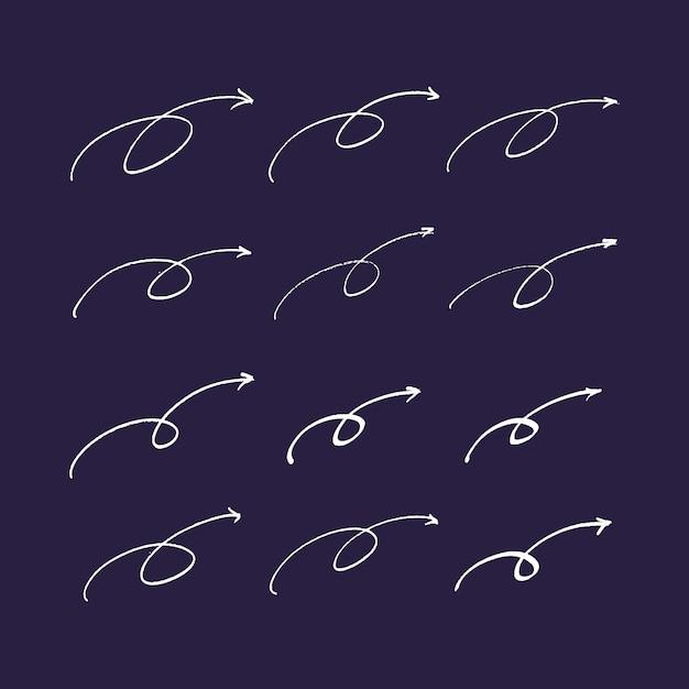Satz von hand gezeichneten pfeile und linien. Premium Vektoren
