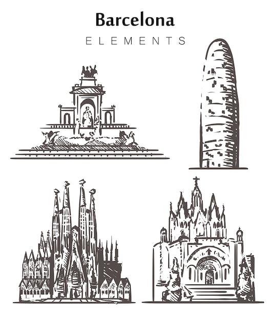 Satz von handgezeichneten barcelona-gebäuden Premium Vektoren