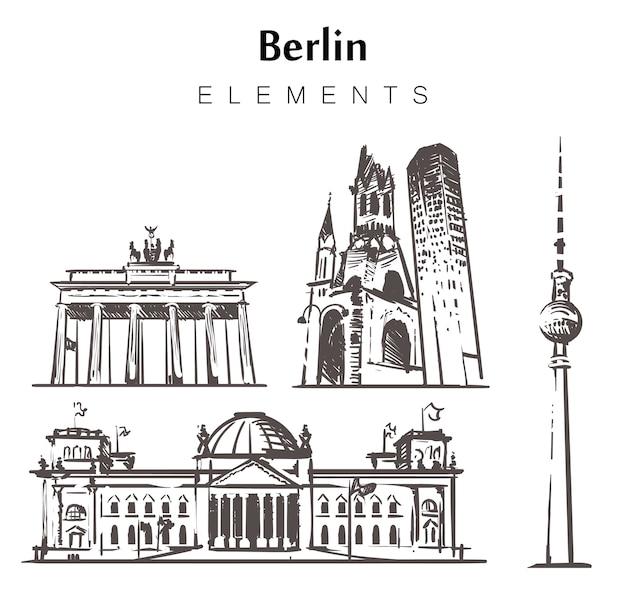 Satz von handgezeichneten berliner gebäuden Premium Vektoren