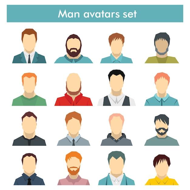 Satz von herren-avataren mit verschiedenen frisuren: langes oder kurzes haar, glatze, mit oder ohne bart Premium Vektoren