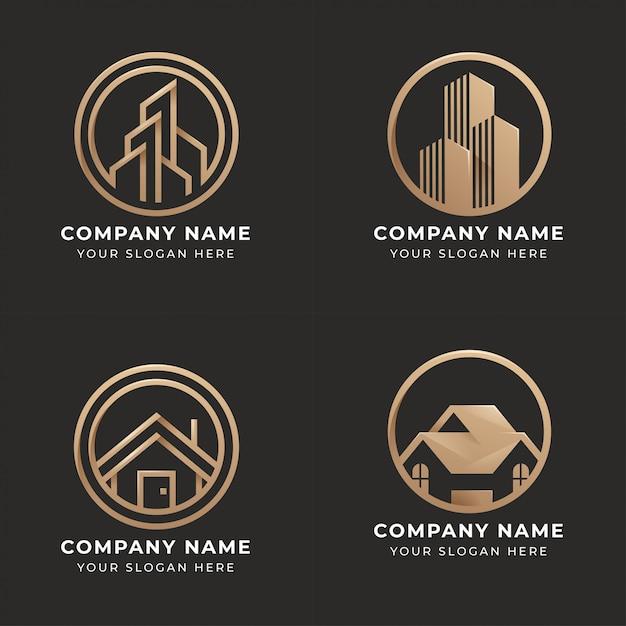 Satz von immobilien-logo-design Premium Vektoren