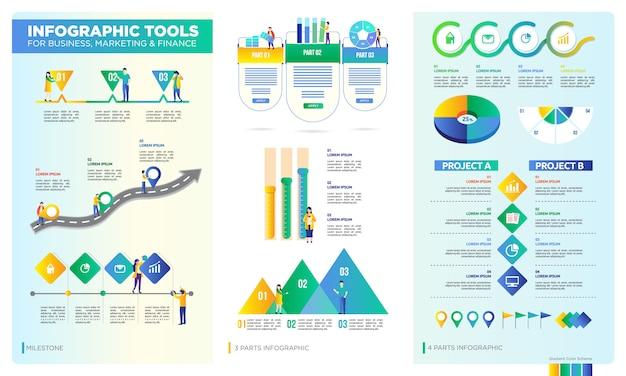Satz von infografik für geschäfts-, unternehmens- oder datenpräsentation Premium Vektoren