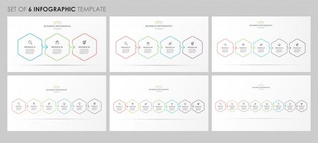 Satz von infografik lineares design mit symbolen und 3, 4, 5, 6, 7, 8 optionen oder schritten. unternehmenskonzept. Premium Vektoren