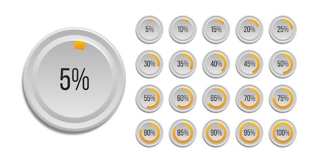 Satz von infografik prozentualen kreisdiagrammen isoliert auf weißem hintergrund. segment der kreissymbole 10% - 100% für webdesign, benutzeroberfläche oder infografiken. Premium Vektoren