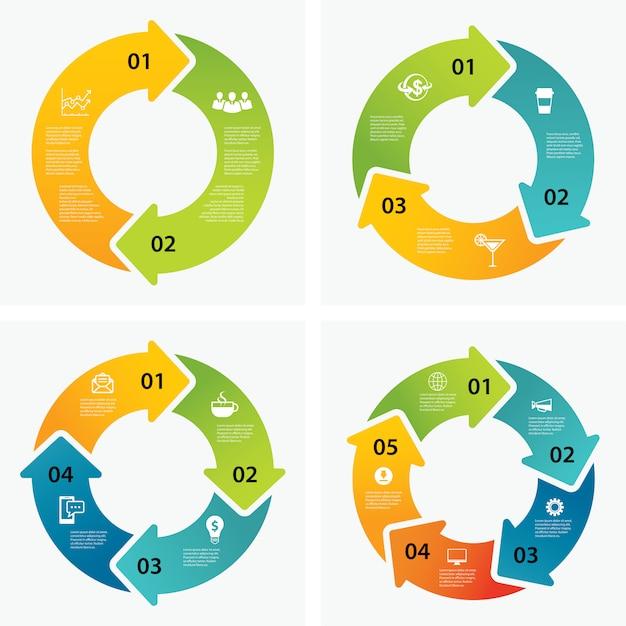 Satz von infografik-vorlagen Premium Vektoren