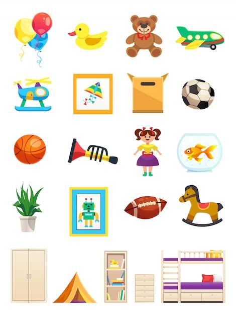 Satz von innenobjekten des kinderzimmers mit möbeln spielzeug sportgeräte und haustier isoliert Kostenlosen Vektoren