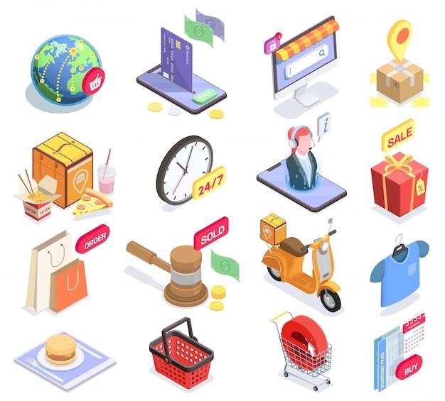 Satz von isometrischen symbolen und konzeptuellen bildern des isolierten einkaufs-e-commerce mit piktogrammen und verkaufssymbolvektorillustration Kostenlosen Vektoren