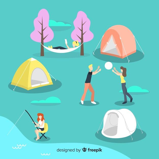 Satz von jugendlichen camping Kostenlosen Vektoren