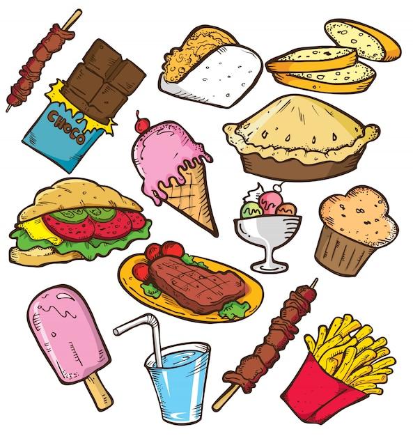 Satz von junk food in doodle-stil Premium Vektoren