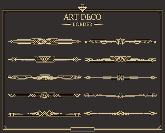 Satz von kalligraphischen seitenteilern im art-deco-gold. Premium Vektoren